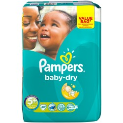 Pampers - 48 Couches Baby Dry taille 5+ sur Les Couches