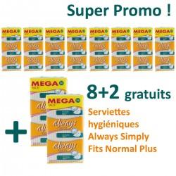 Always - 360 Serviettes hygiéniques Simply Fits - 10 Packs de 36 Serviettes hygiéniques taille NormalPlus sur Les Couches