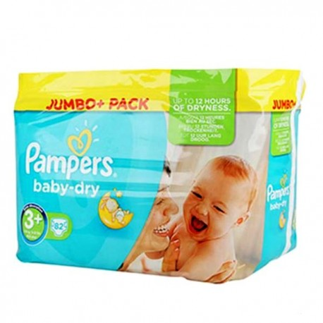 Pampers - 82 Couches Baby Dry taille 3+ sur Les Couches
