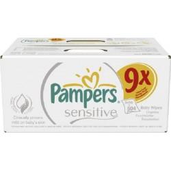 Pampers - 504 Lingettes Bébés Sensitive Baby - 9 Packs de 56 sur Les Couches