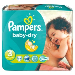 Pampers - 34 Couches Baby Dry taille 3