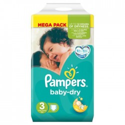 Pampers - 52 Couches Baby Dry taille 3 sur Les Couches