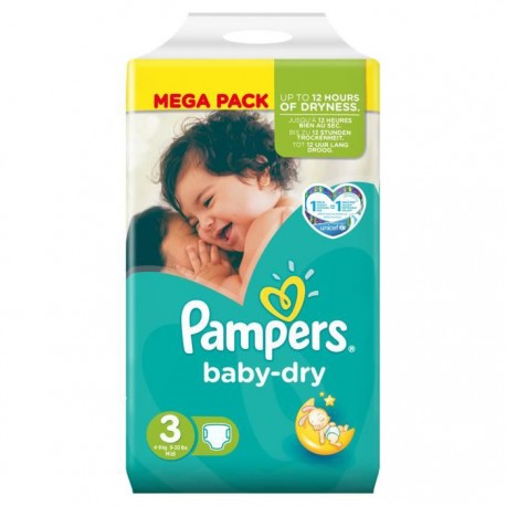 52 couches pampers baby dry taille 3 petit prix sur les couches - Couche pampers baby dry taille 3 ...