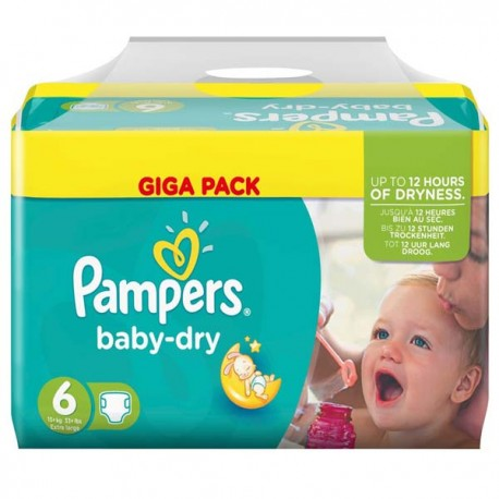 Pampers - 198 Couches Baby Dry taille 6 sur Les Couches