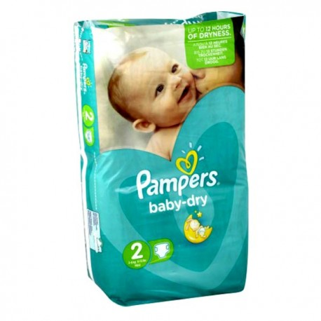 Pampers - 44 Couches Baby Dry taille 2 sur Les Couches