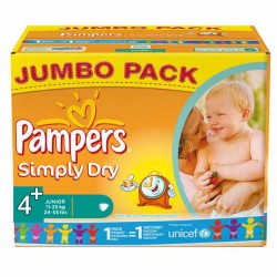 Pampers - 308 Couches Simply Dry taille 4+ sur Les Couches