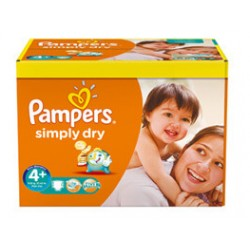Pampers - 280 Couches Simply Dry taille 4+ sur Les Couches