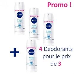 Nivea - 4 Deodorants Fresh Natural - 4 au prix de 3 taille Pocket sur Les Couches