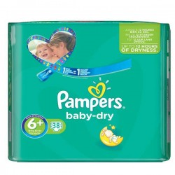 Pampers - 38 Couches Baby Dry taille 6+ sur Les Couches