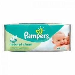 Pampers - 64 Lingettes Bébés Natural Clean sur Les Couches