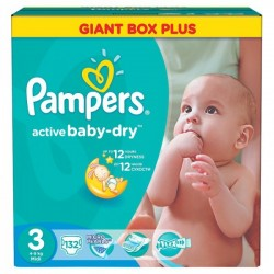 Pampers - 132 Couches Active Baby Dry taille 3 sur Les Couches