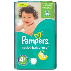 Pampers - 53 Couches Active Baby Dry taille 4+ sur Les Couches