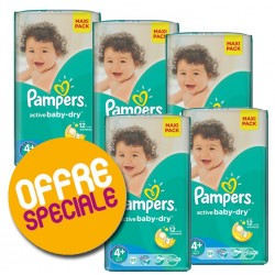 Pampers - 371 Couches Active Baby Dry taille 4+ sur Les Couches