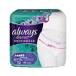 Pack 12 culottes incontinence ALWAYS DISCREET Normal sur Les Couches