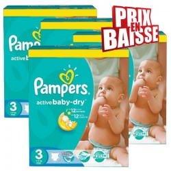 Pampers - 444 Couches Active Baby Dry taille 3