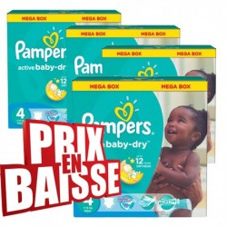 Pampers - 290 Couches Active Baby Dry taille 4 sur Les Couches