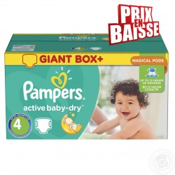 Pampers - 348 Couches Active Baby Dry taille 4 sur Les Couches
