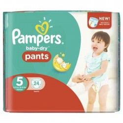 Pampers - 24 Couches Baby Dry Pants taille 5 sur Les Couches