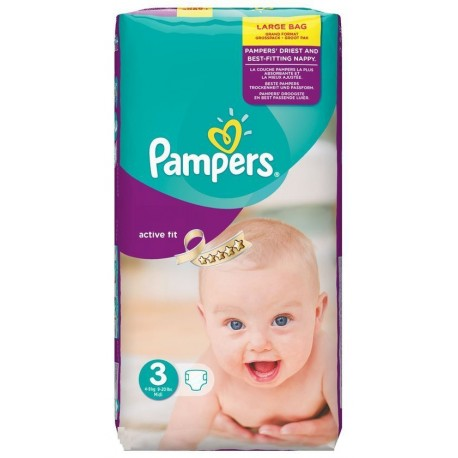 Pampers - 62 Couches Active Fit taille 3 sur Les Couches