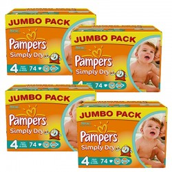 Pampers - Mega Pack 294 Couches Simply Dry 4 sur Les Couches