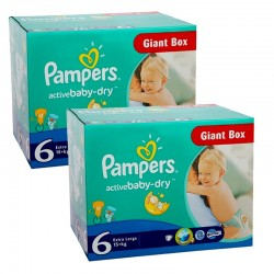 Pampers - Maxi Mega pack 288 Couches Active Baby Dry 6 sur Les Couches