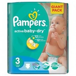 Pampers - Pack 82 Couches Active Baby Dry taille 3 sur Les Couches