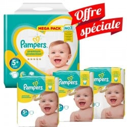 Pampers - Pack Jumeaux 416 Couches Premium Protection - New Baby taille 5+ sur Les Couches