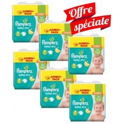 Pampers - Maxi Mega Pack 224 Couches Baby Dry taille 7 sur Les Couches
