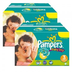 Pampers - Mega Pack Jumeaux 408 Couches Baby Dry taille 3