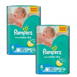 Pampers - Maxi Giga Pack 270 Couches Active Baby Dry taille 4+