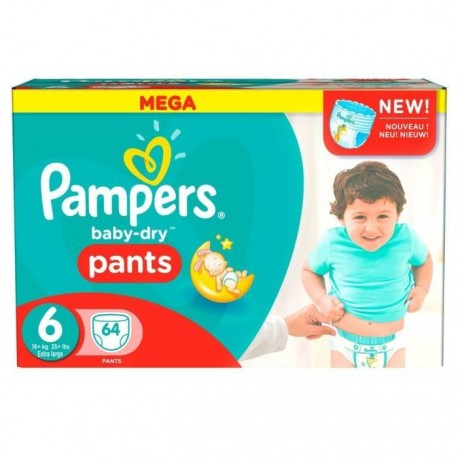 Pampers - Pack 64 Couches Baby Dry Pants taille 6+ sur Les Couches