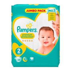 Pampers - Pack 68 Couches New Baby - Premium Protection taille 2 sur Les Couches