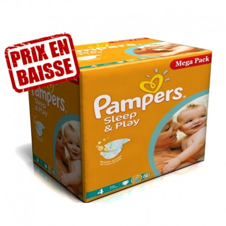 Pampers - Maxi Giga Pack 216 Couches Sleep & Play taille 4 sur Les Couches