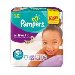 Pampers - Pack 32 Couches Active Fit - Premiun Protection taille 5+ sur Les Couches
