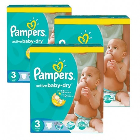 Pampers - Mega Pack 216 Couches Active Baby Dry taille 3 sur Les Couches