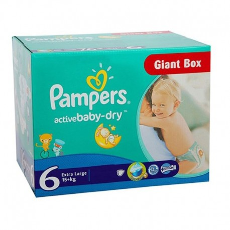 Pampers - Giga pack 126 Couches Active Baby Dry taille 6 sur Les Couches