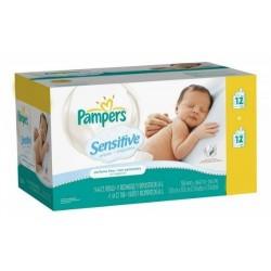Pampers - 288 Lingettes Bébés Sensitive - 24 Packs de 12 sur Les Couches