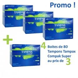 Tampax - 320 Tampons Compak - 4 au prix de 3 taille super avec applicateureur sur Les Couches