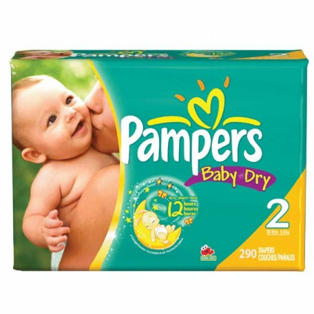 Pampers - 290 Couches Baby Dry taille 2 sur Les Couches